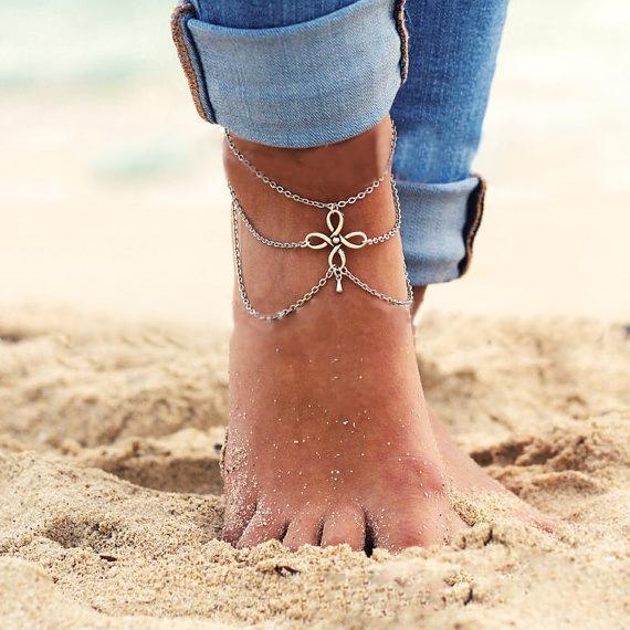 5071 2015 New Vintage Boho Silver Plated Tassel ChineseKnot Pendant MultiLayer Chain Link Anklet Bracelet Foot