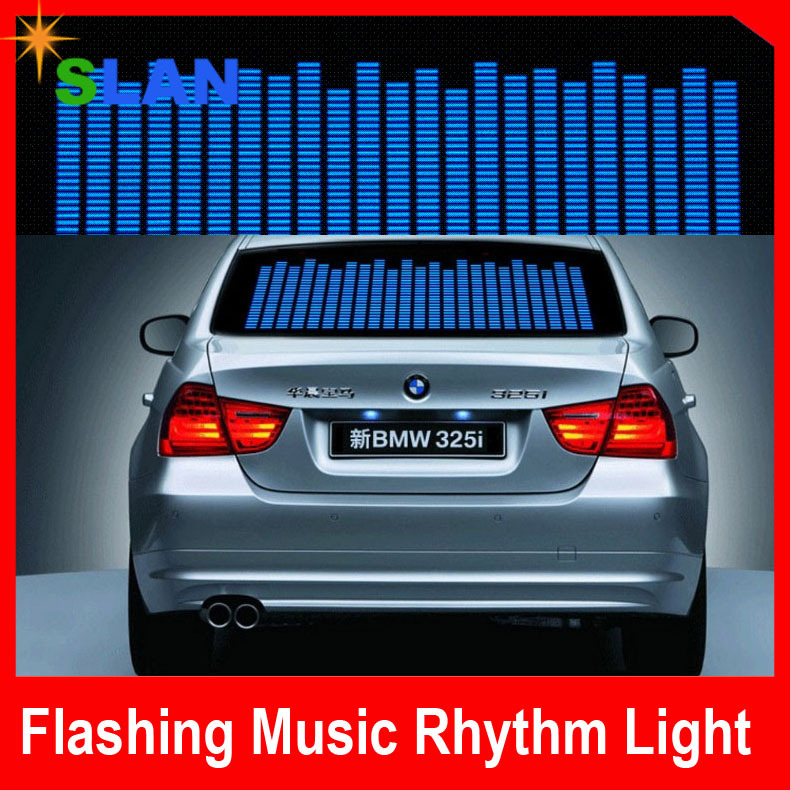 LED Sound Activated EL Sheet Car Music Sticker Equalizer Glow Flash Panel Multi Colour Light Car Accessories Free shipping(China (Mainland))