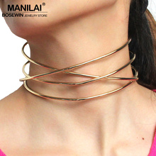 Buy MANILAI Fashion Alloy Torques New Brand Choker Necklaces Women New 2017 Collar Statement Necklace Maxi Jewelry Bijoux CE4392 for $5.94 in AliExpress store