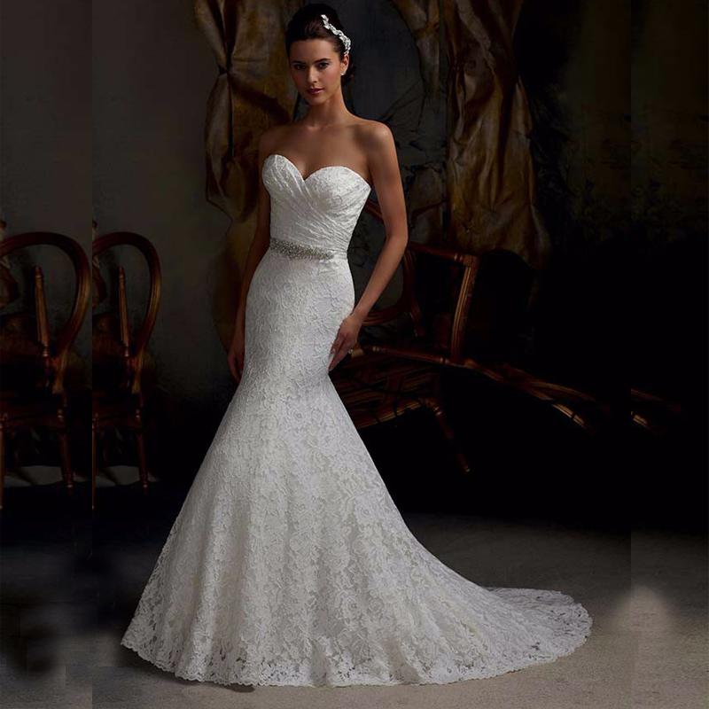 New Elegant Bridal Gown Real Photos White Lace Mermaid Wedding Dresses 2015 Lace Up Back Vestido De Noiva Fast Shipping Custom(China (Mainland))