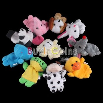 10 X  Velvet Finger Animal Puppet Play Learn Story Toy  #5331