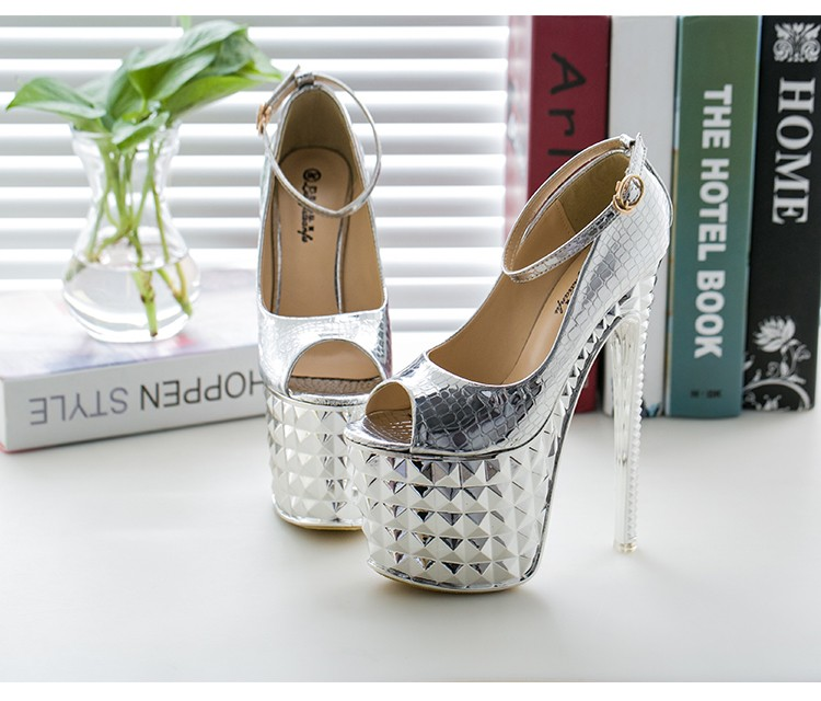 Crossdresser Plus:34-39 Summer Sandals 19/20cm thin high heels Female Shoes Gold/Sliver Platform Women Ankle strap party Pumps