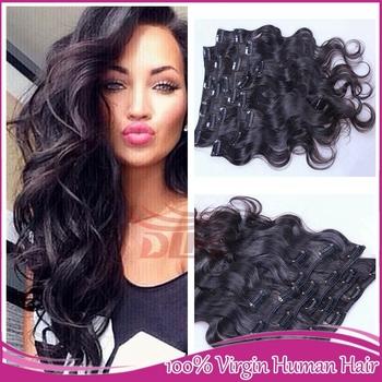 Горячие Продажи Клип В Расширениях Человеческих Волос 6A Малайзийские Виргинские волосы Объемная Волна Клип В Необработанные 100% Человеческих Волос Бесплатно доставка