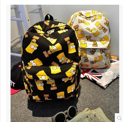 New Design 2015 Harajuku Simpson Print Women Double-shoulder Bag Canvas Bag Women's Travelling Bag Men's Backpacks School Bags(China (Mainland))