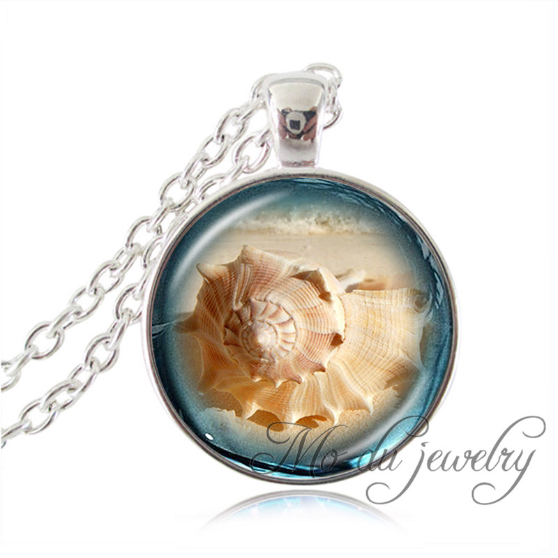 Silver chain natural beach shell necklace pendant fashion art picture choker marine animal necklace glass dome sea shell jewelry(China (Mainland))