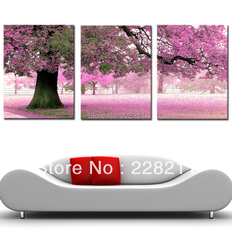 Free shipping 40x60cmx3 3 Panels Modern Painting Decor Living Room Combination Paint Picture Canvas Print Art Pink Flower Tree(China (Mainland))