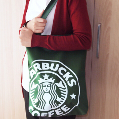 Cute Starbucks Coffee shoulder bag,shopping bag wholesale 3 color,free shipping B-654,33.5*8*41cm eco-friendly green bag(China (Mainland))