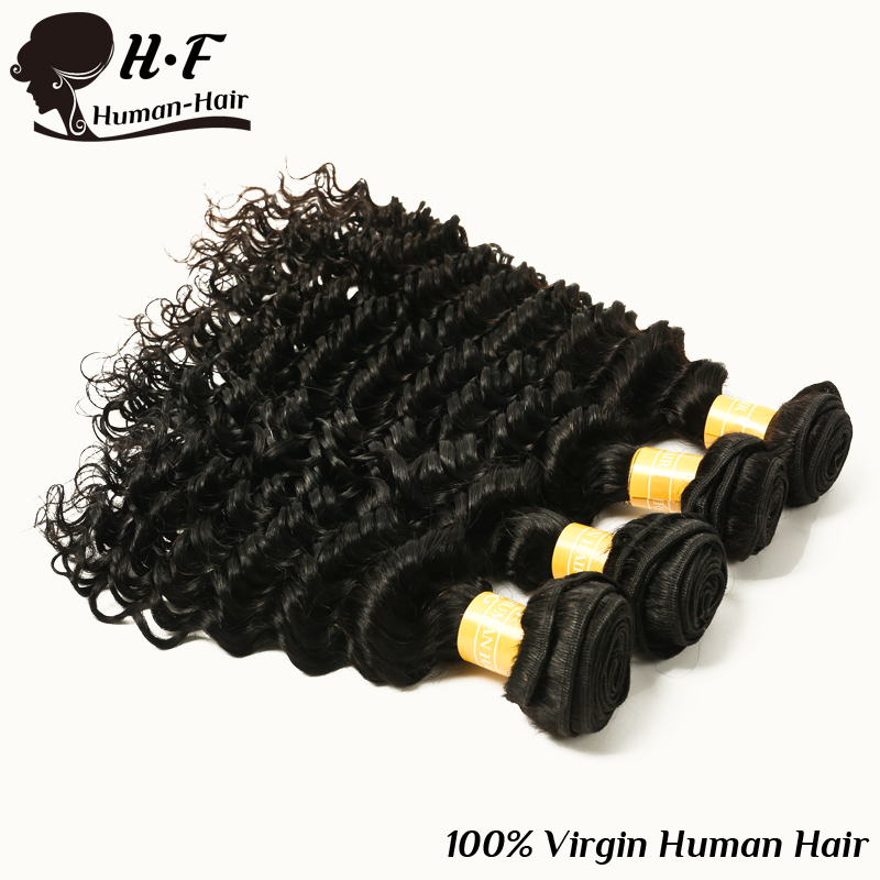 Здесь можно купить  H&F Queen Human Hair Products 6A Unprocessed Malaysian Virgin Human Hair Weave 4 Bundles Deep wave Human Hair Extensions  Волосы и аксессуары