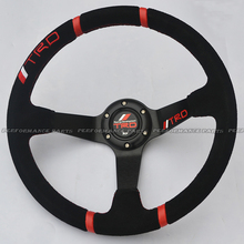 Hot: Suede Leather Sport Car Steering Wheel TRD Steering Wheel 350mm Diameter(China (Mainland))