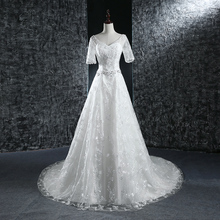 Luxury Lace Beading V Neck Lace up back milano wedding dresses gowns A line bridal gowns vestido de noiva renda plus size(China (Mainland))