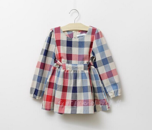 Hot 2014 new Spring&amp;Autumn girls plaid belt cotton shirt, French designer vintage bow shirt,Top quality girl 2-color brand shirt<br><br>Aliexpress