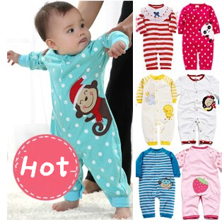 New arrive 2015 baby clothing monkey baby girl rompers cotton long sleeve baby jumpsuit, newborn wear , 0-1 years boys girls(China (Mainland))