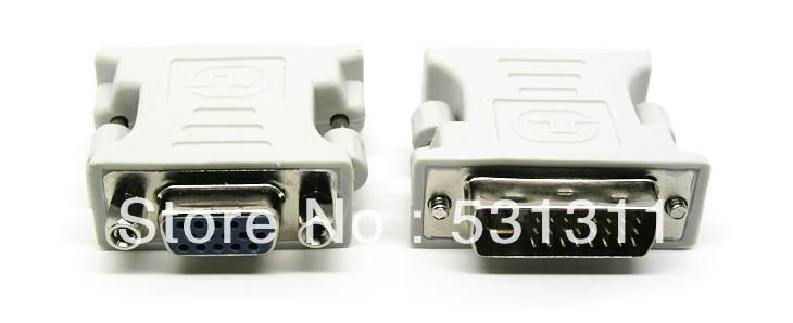 15pin DVI to VGA adapter DVI 24 + 5 male to VGA female DVI adapter white 10pcs(China (Mainland))