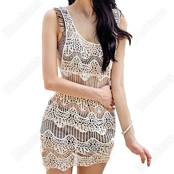 Сексуальные женщины девушки сексуальная вязания крючком полости рукавов летом купальник купальники бикини прикрыть пляж платье один размер бесплатная доставка 026 м