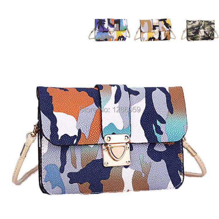 Fashion casual multicolor camouflage handbags cross-body shoulder bag desigual women bag mini phone bag day clutches wallets(China (Mainland))