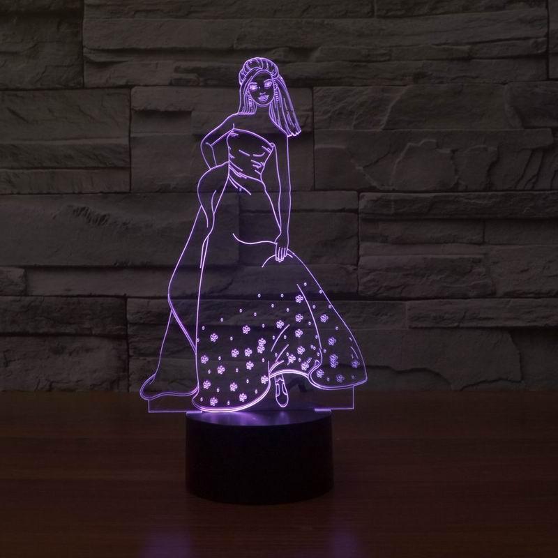 2016 New Night Light 3D Effect Beautiful Elegant girl LED Table Lamp.(China (Mainland))