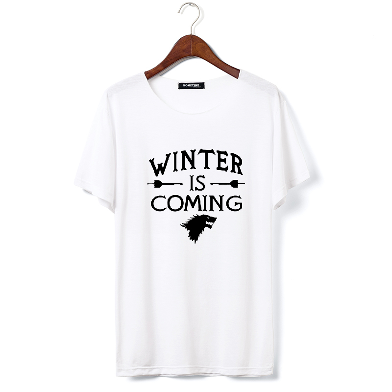 Game of Thrones Direwolf T-shirt House Stark Winterfell Cotton T-shirt men Winter is coming Fashion Streetwear T shirt Crossfit(China (Mainland))