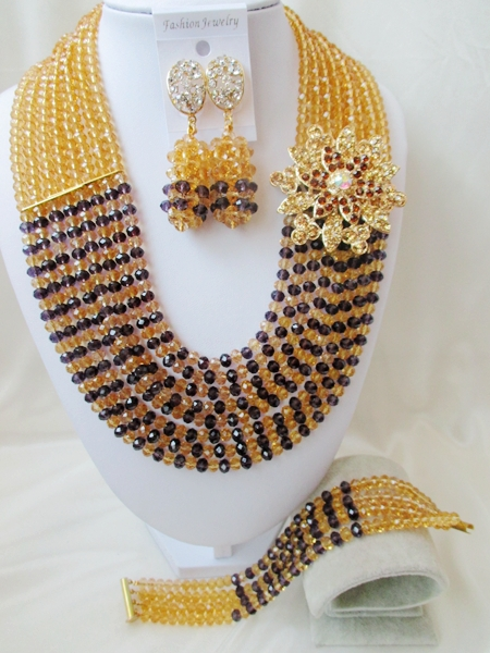 Fashion Nigerian African Wedding Beads Jewelry Set , Crystal Necklace Bracelet Earrings Set  C2319<br><br>Aliexpress