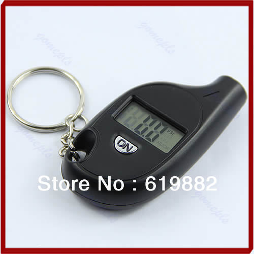 W110Wholesale 1pc Mini Keychain LCD Digital Car Tire Tyre Air Pressure Gauge Auto Motorcycle Test Tool(China (Mainland))