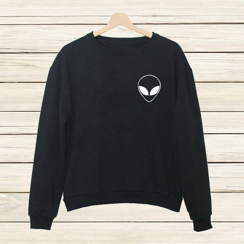 2016 New Arrival Alien Pocket Letters Print Funny Harajuku Jogging Tracksuits Sleeve Hipster Sport Women's Sweatshirt Hoodies(China (Mainland))