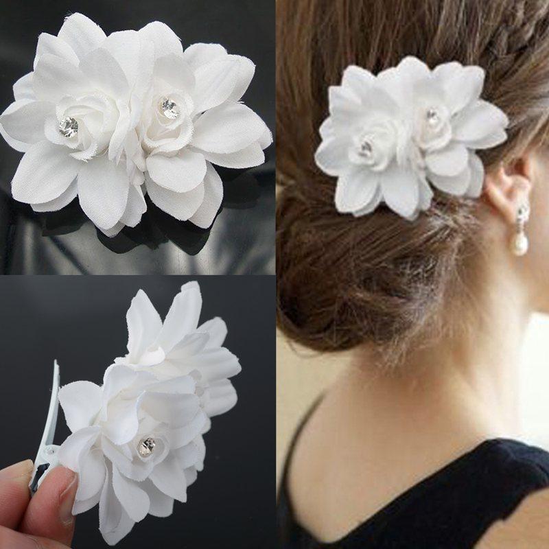 Elegant Crystal White Flower Bride Barrettes Hair Accessory Wedding Veil Bridal Veil Wedding Accessories Brides Hair