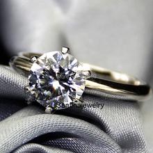Классический Обручальное Кольцо С 6 Зубцами 2 Карат Лаборатория Grown Алмаз кольцо 9 К Белое Золото Обручальное Кольцо Для Женщин Золото Ювелирных Изделий С Бриллиантами(China (Mainland))
