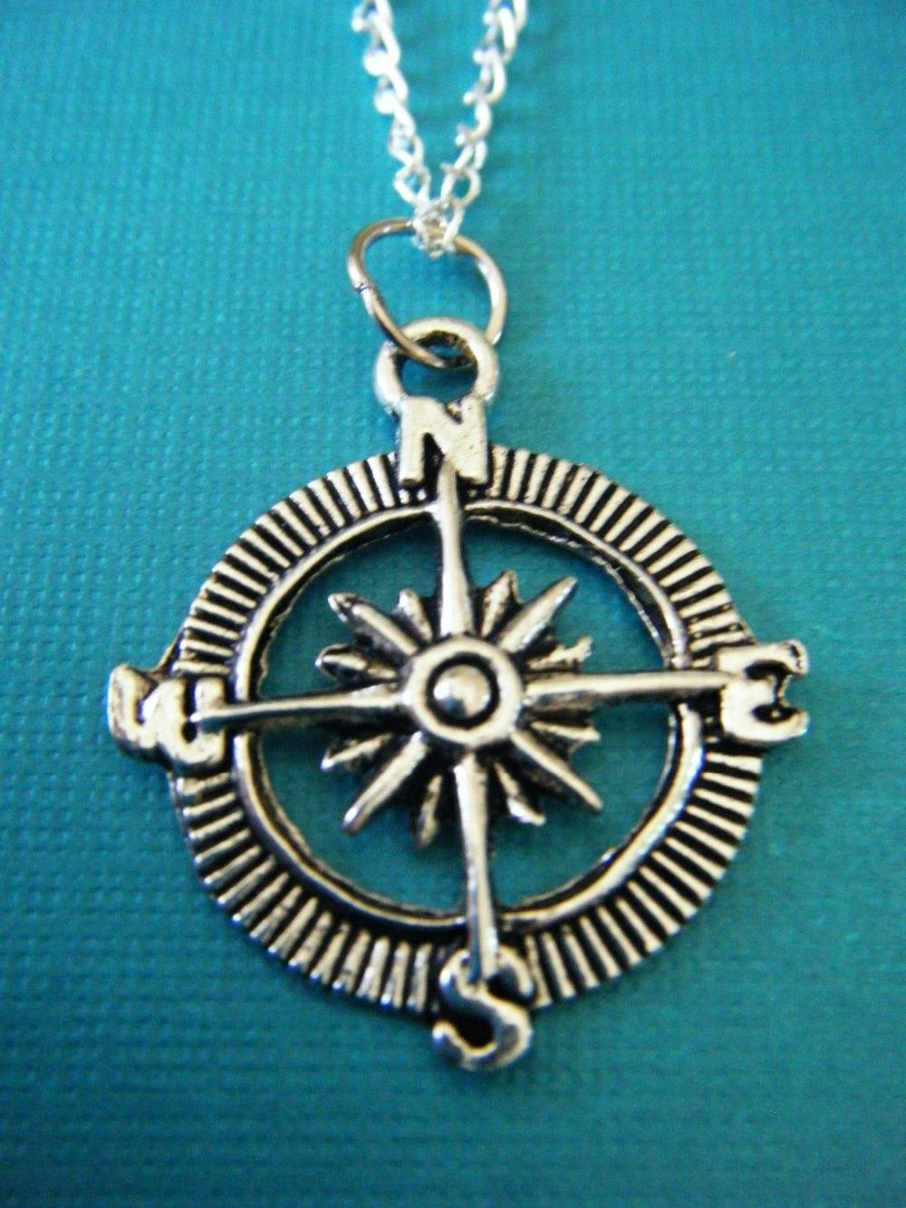 """Fashion Jewelry Vintage Silver """"Compass"""" Charms Statement Choker Short Necklace Pendant Free shipping V168(China (Mainland))"""