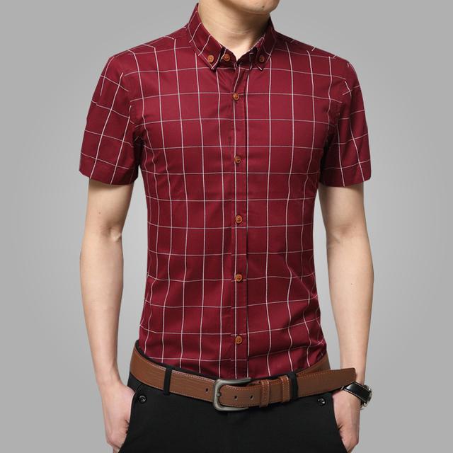 2016 новый короткий рукав рубашки Большой размер M-5XL хлопок клетчатые рубашки мужской ...