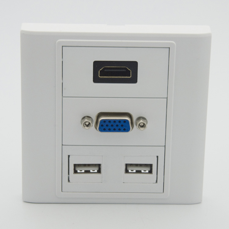 HDMI VGA 2 X USB wall plate with female to female connectors(China (Mainland))
