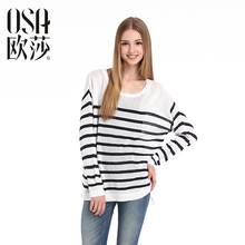 OSA 2015 Autumn loose Casual Striped pullover Winter women damen sweaters large size Full Sleeve O-neck tops knitwear SH429016(China (Mainland))