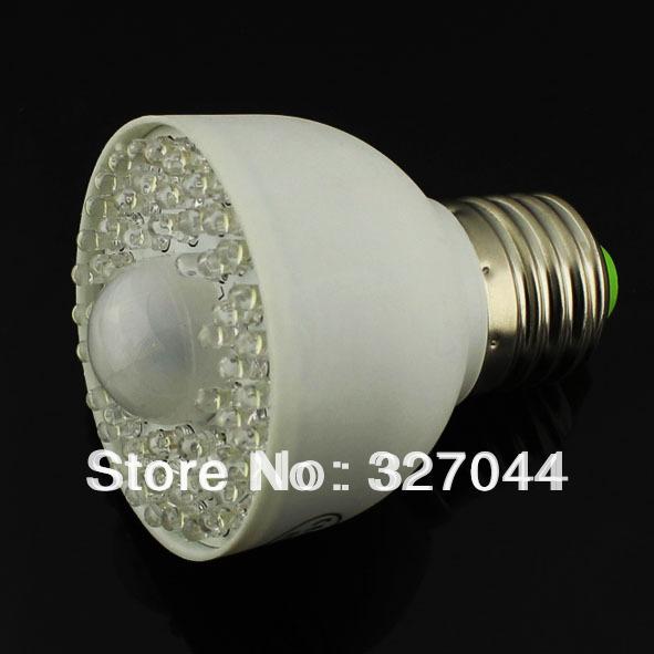 Freeshipping 54 Leds Pure White Led E27 3.5W PIR Led Motion Sensor Light Detection 10pcs/lot(China (Mainland))