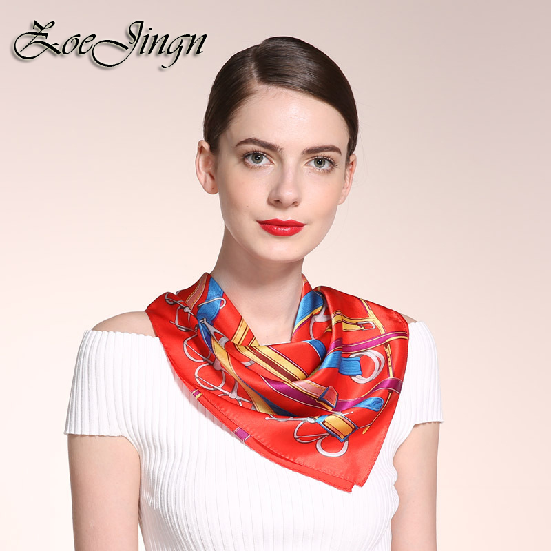 53*53CM New Colors Belt Print Women Square Silk Scarves In Fashion 100% Silk Brand Twilly Tie Bag Scarfs For Lady Birthday Gift(China (Mainland))