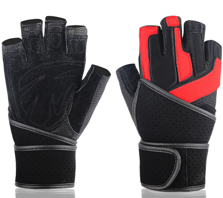 2015 Fashion Men Women Gym Gloves Fitness Cycling Weightlifting Genuine Leather Sport Gloves Black Red Half Finger Gloves(China (Mainland))