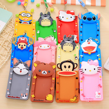 Silicone card case holder portable cute cartoon String Hello Kitty Metro ID bus Identity badge with lanyard porte carte credit(China (Mainland))