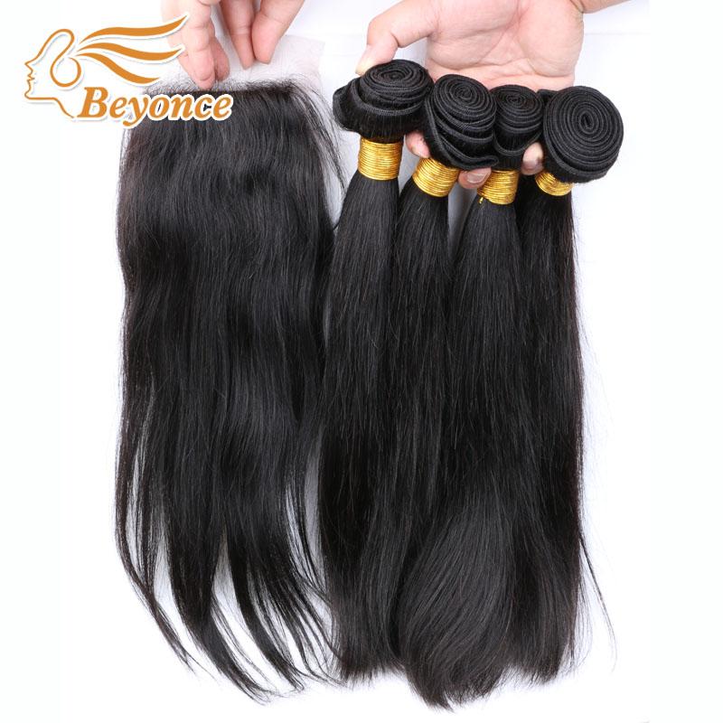 Гаджет  Natural Black Malaysian Straight Hair With Closure,4pcs Straight Hair Bundles With Silk Base Closure,Human Hair With Closure None Волосы и аксессуары