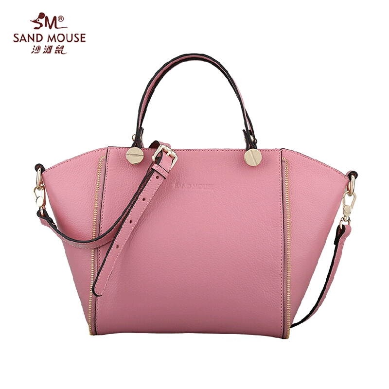 SANDMOUSE 2015 Fashion Famous Brand Genuine Leather Women Bag High Quality Women Totes Handbags Women Solid Zipper Shoulder Bags<br><br>Aliexpress