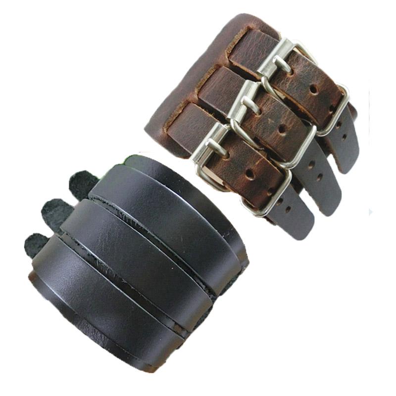 HandMade Wide Leather 3 Belt Bracelet Bangles Fashion Jewelry Pulseira Couro Genuine Johnny Depp Bracelets Man Women - Just For You !! store