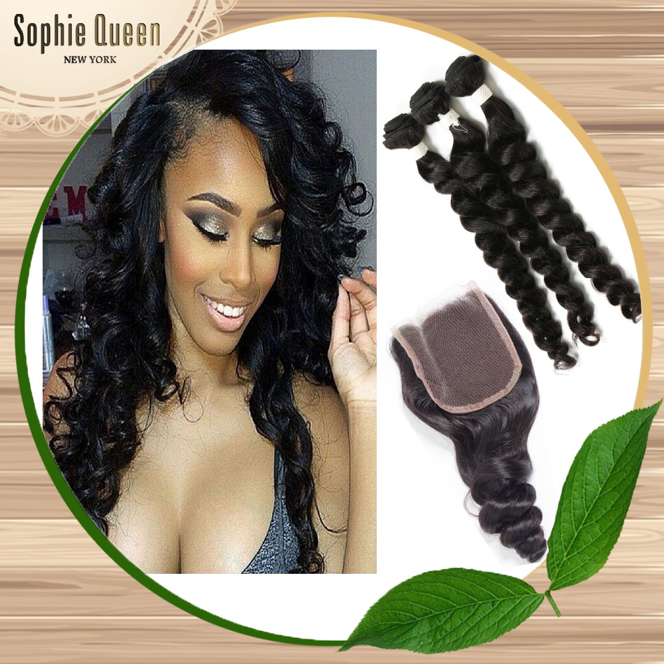 Queen Hair Products With Closure Bundle 7a Brizilian Virgin Hair With Closure 3 Pc Brazilian Loose Wave Virgin Hair With Closure