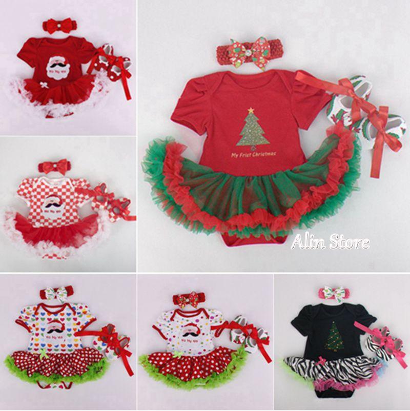 Newborn christmas dress baby shoes headband set toddler clothes infant