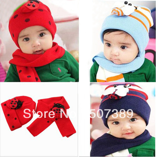 Baby Hat + Scarf Children Kid Warm Hat Scarflady Bug Beetles Twinset Red Bule(China (Mainland))