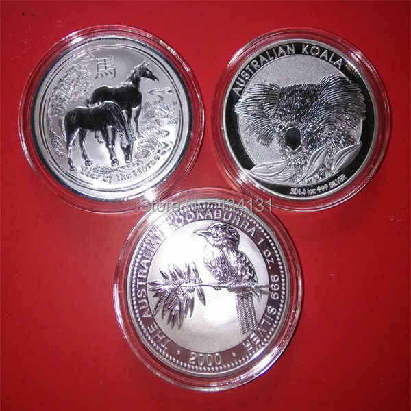 Free Sample Silver Plated Replicas Coins Australia One Troy Ounce 2000 Kookaburra+2014 Koala+2014 Year Of Horse Copy Collection(China (Mainland))