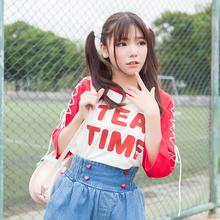 Fashion Blusas 2016 Summer Style Tee Shirts Korea ulzzang Harajuku T Shirt Women Casual Tops macarons color split kawaii B4530(China (Mainland))