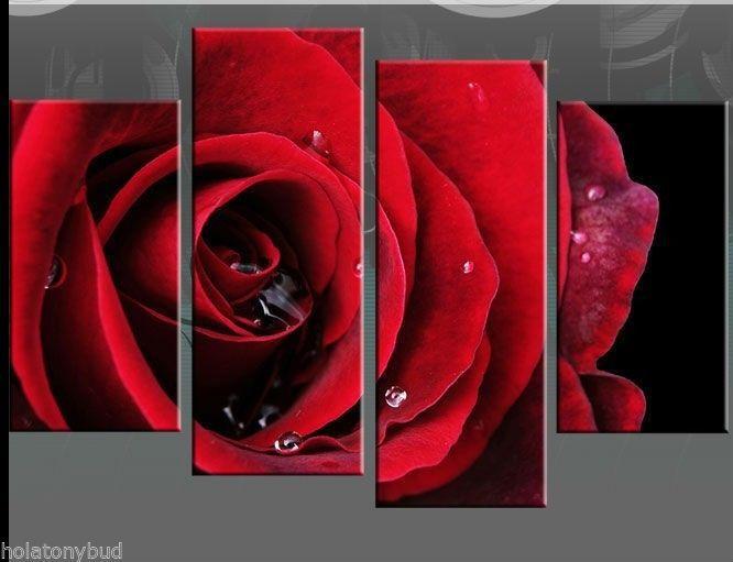rote rose leinwand bilder auf schwarze wand 4pc keine frames in aus malerei und kalligraphie auf. Black Bedroom Furniture Sets. Home Design Ideas