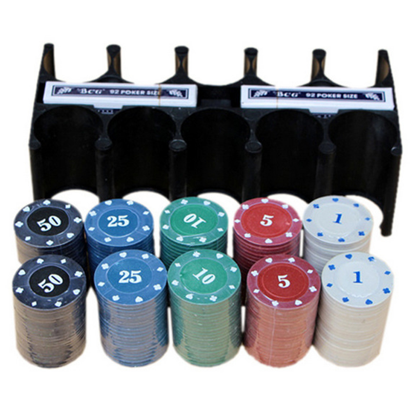 24*12*11 CM Texas Hold'em Poker Set Boxed 200 Poker Chip+2 Poker+ 1 Table cloth+3 Blind For Entertainment With Box and Rack