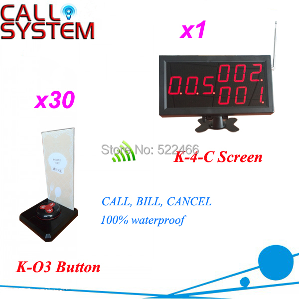 2015 newest Wireless Calling System for restaurant coffee shop with 1 screen and 30 table button, Shipping Free(China (Mainland))