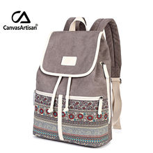 Canvasartisan Top Quality Canvas Women Backpack Casual College Bookbag Female Retro Stylish Daily Travel Laptop Backpacks Bag(China (Mainland))