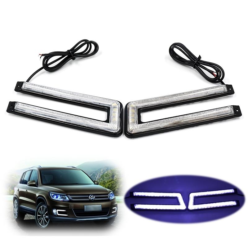 U Style 2Pcs/Set LED DRL Daytime Running Light 120SMD Sapphire Flip Chips External Car Lights Styling Brake & Streeling lamp(China (Mainland))