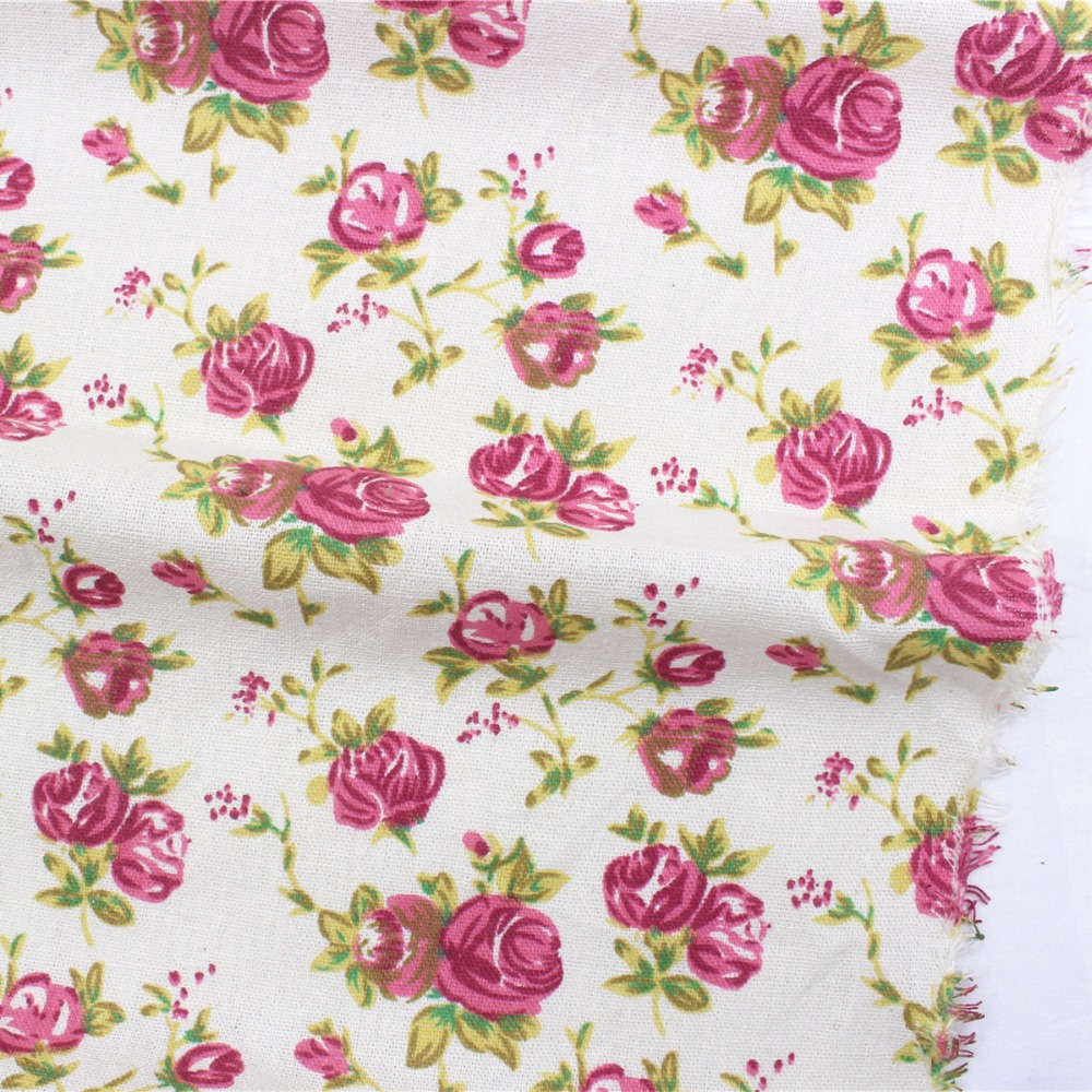 16628-25F, New Arrival ! Flower Cotton Linen Fabric Plain Weave Fabrics For Sewing Textile Cloth 140cm clothing accessories(China (Mainland))