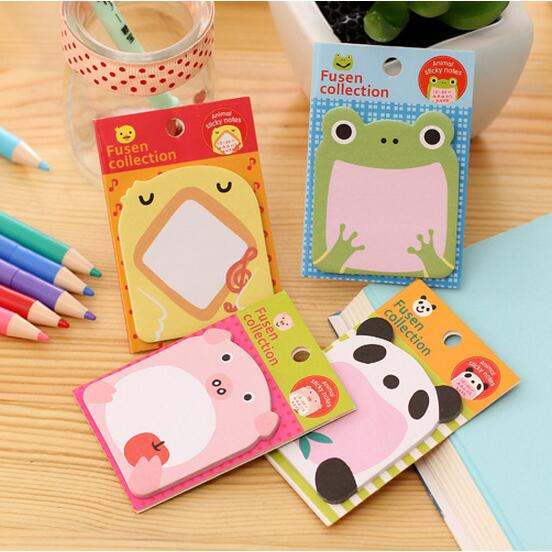4pieces/lot Cartoon animals cute frog/panda/pig memo pad/sticky note/post-it note 20pages 8*5cm self-adhesive funny stationery(China (Mainland))