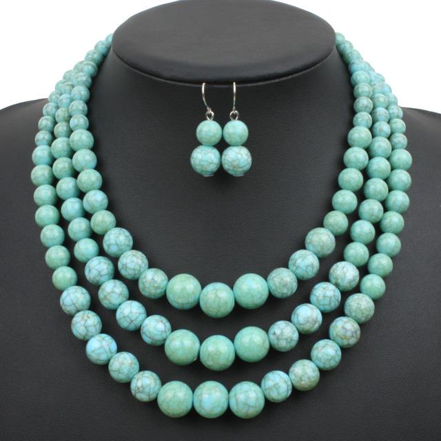 Мульти-нить howlite бусины ожерелье новинка пластиковые смола бирюзовый цвет женщин ...